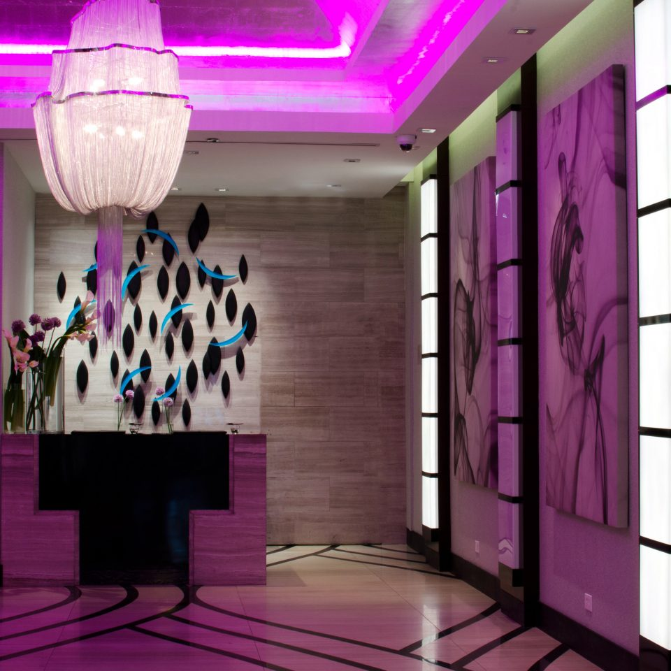Hip Luxury Modern Travel Trends Trip Ideas color purple Boutique hall display window painted