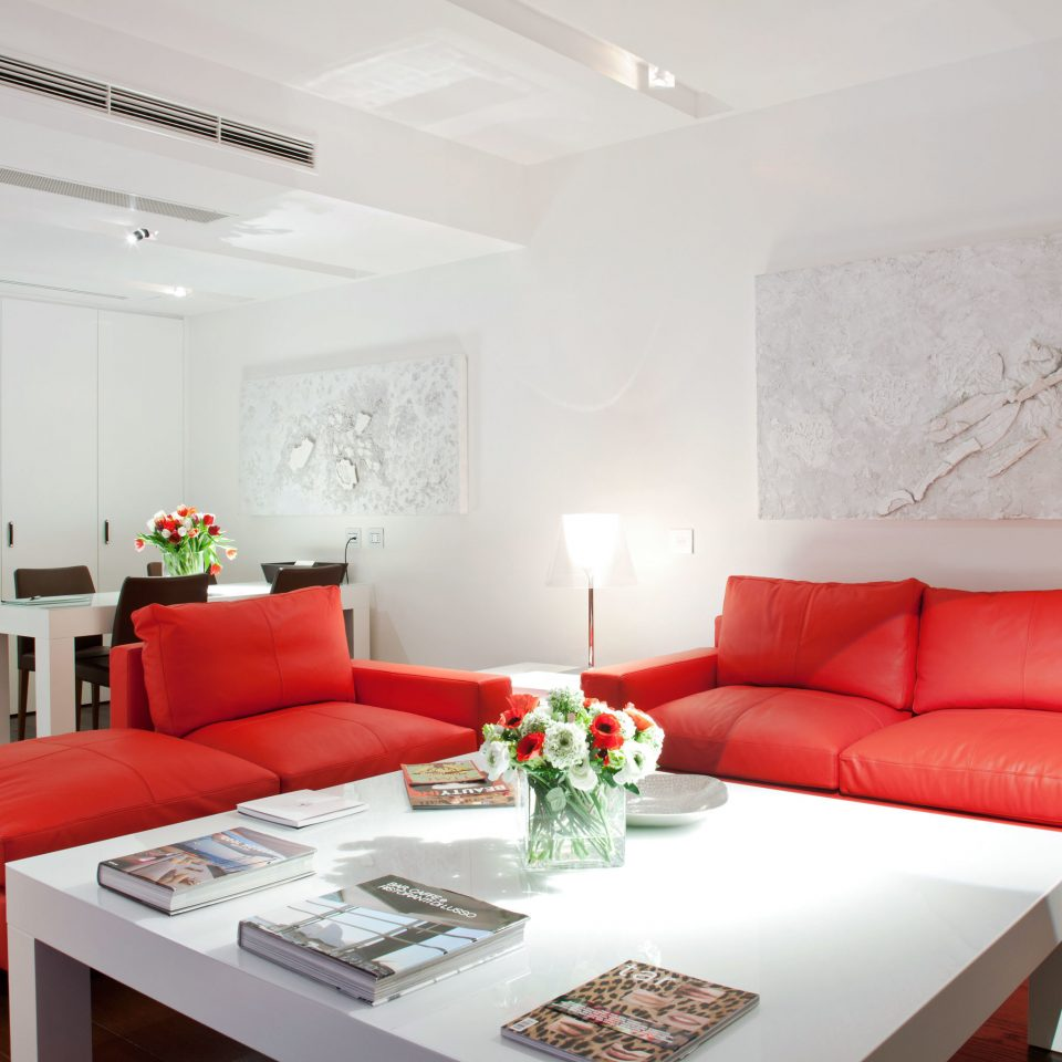 Boutique Hip Modern Suite sofa red property living room home condominium cottage orange flat leather