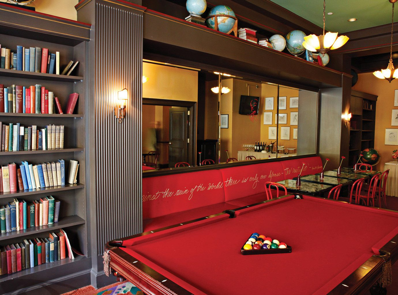 Boutique Historic Sport shelf book recreation room billiard room scene games set