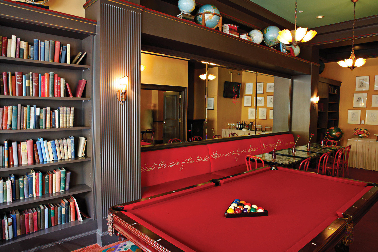 Boutique Historic Sport shelf book recreation room billiard room scene games set