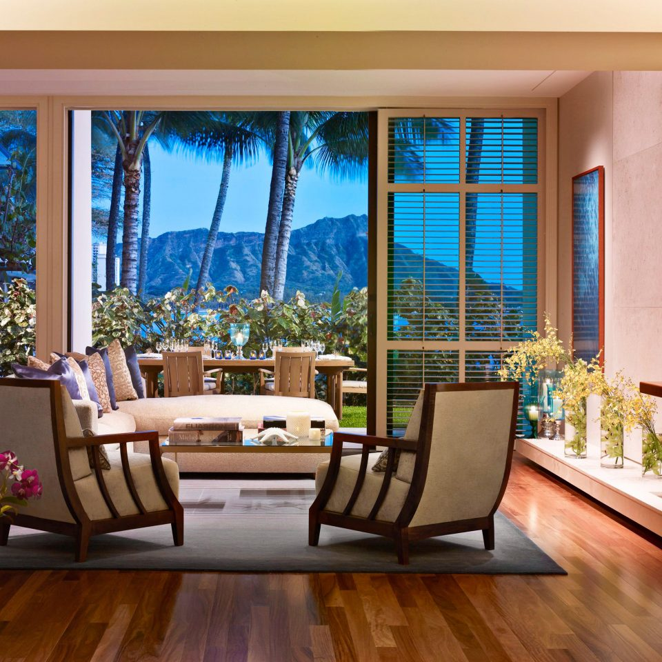 Boutique Hotels Hawaii Honolulu Hotels Luxury Patio Resort Scenic views living room property home hardwood condominium Suite wood flooring