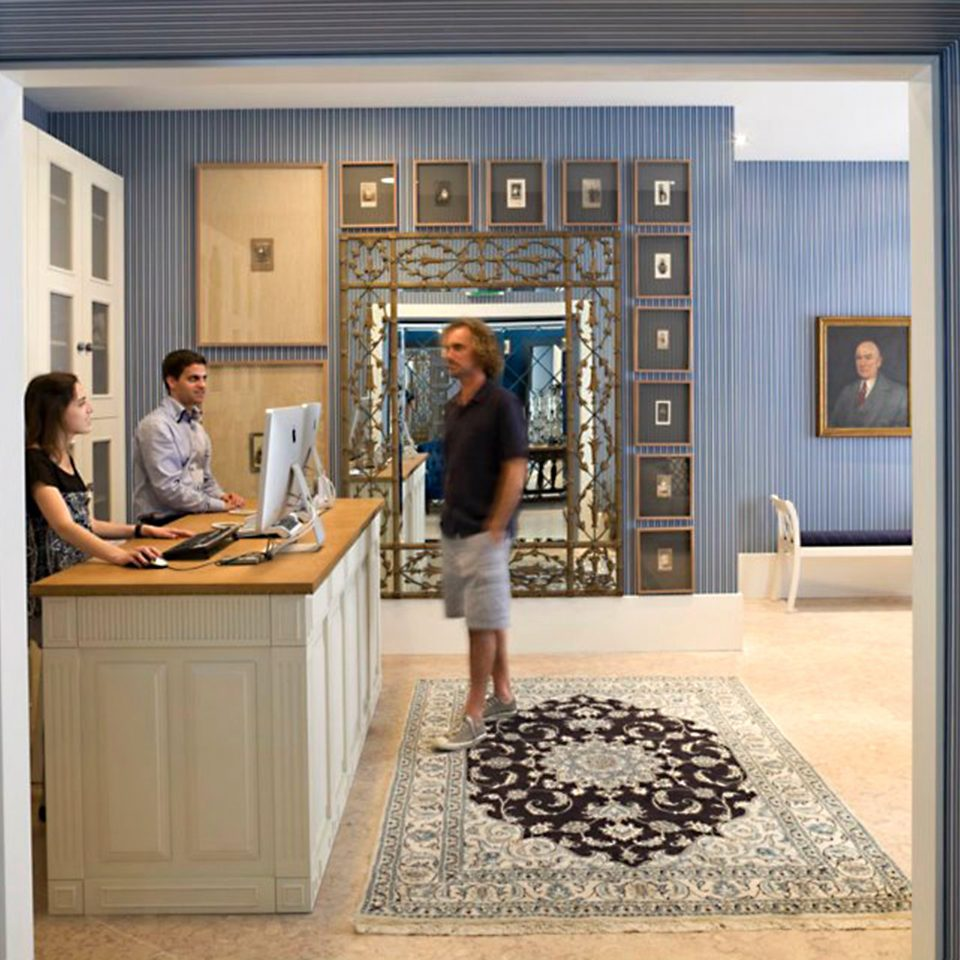 Boutique Lobby Lounge blue curtain home house living room hall door window treatment flooring