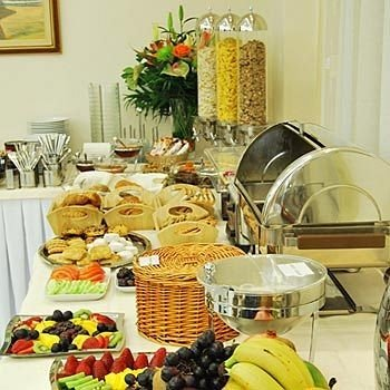 buffet breakfast brunch food lunch cluttered dining table