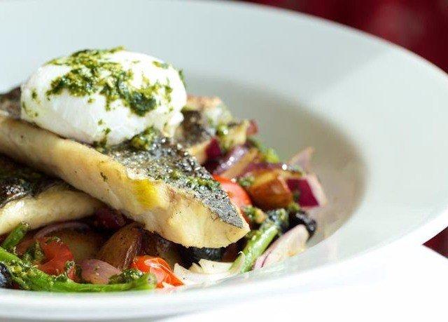 plate food salad vegetable fish white cuisine meat breakfast vegetarian food containing piece de resistance