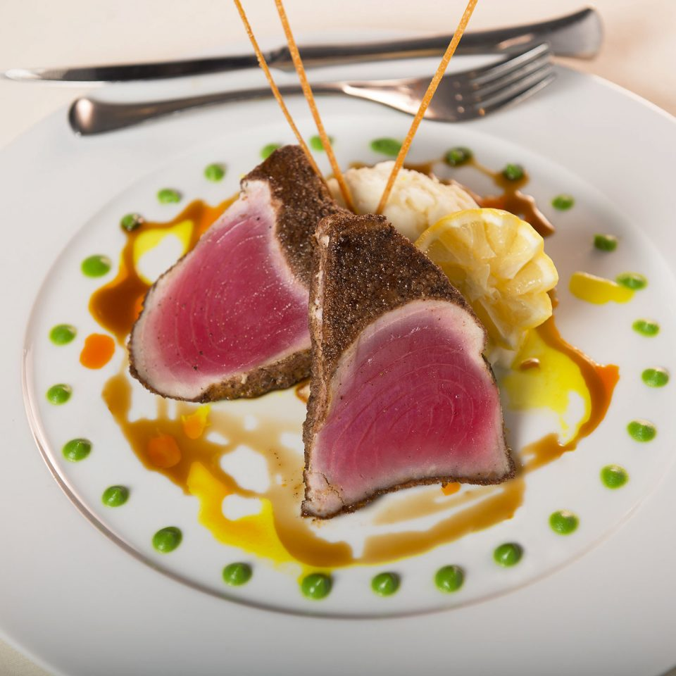 plate food white fruit meat cuisine breakfast slice fork dessert sauce