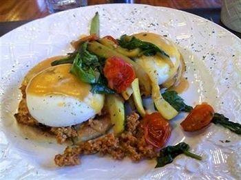 food plate breakfast cuisine meat vegetable piece de resistance