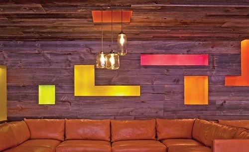 man made object wooden brick lighting living room cottage orange