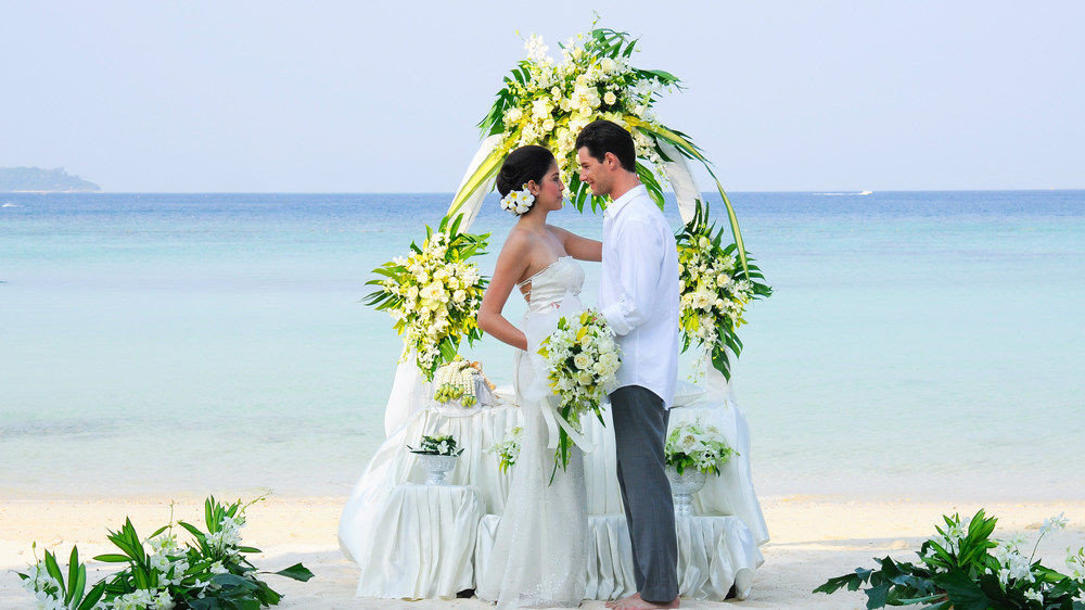 water sky woman bride flower wedding dress wedding bridal clothing dress gown groom shore