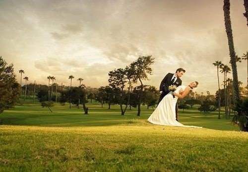 grass sky photograph golf club photography wedding bride ceremony dress golf course lawn golf equipment plantation recreation park leisure spring landscape groom