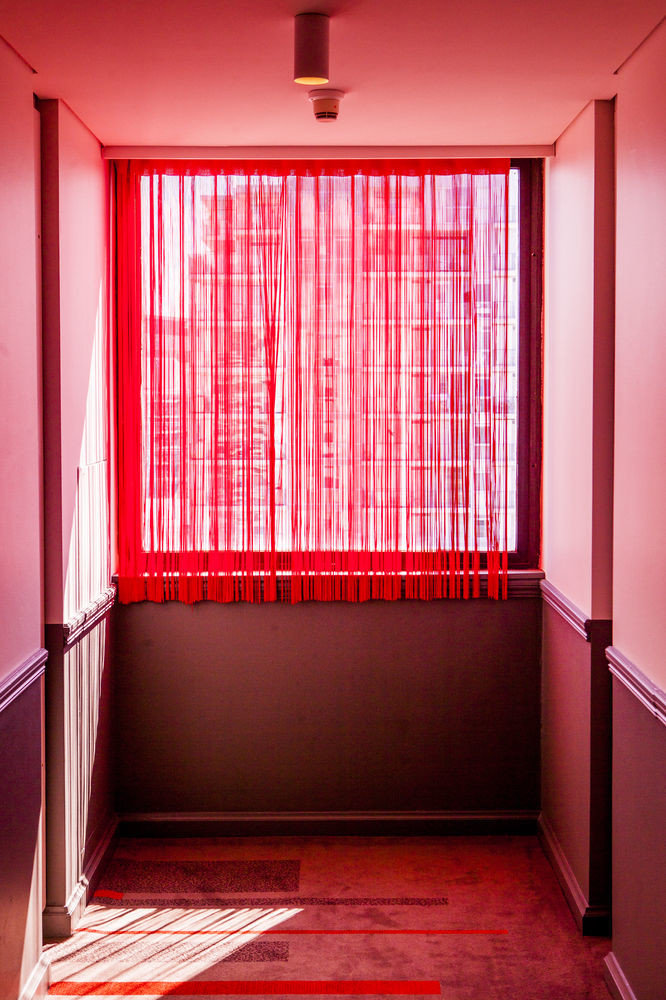 color red building house pink living room curtain bright tub