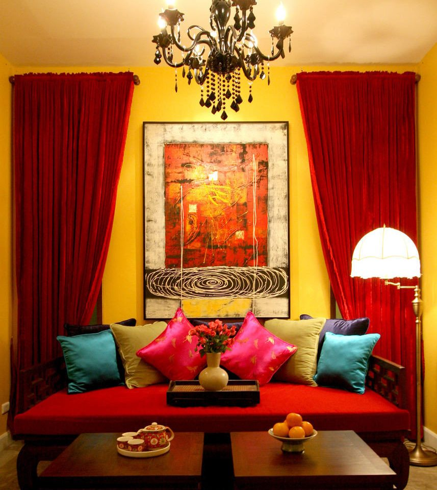 color red living room yellow curtain modern art bright colorful colored