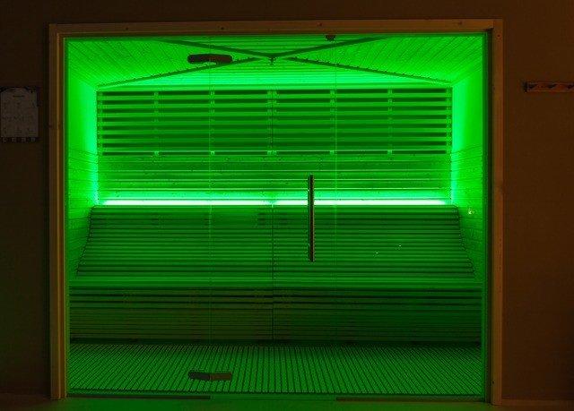 green color light display device signage lighting window blind door shape line electronic signage bright flat panel display