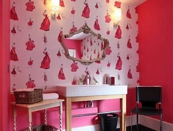red pink curtain lighting living room wallpaper bright painted colored