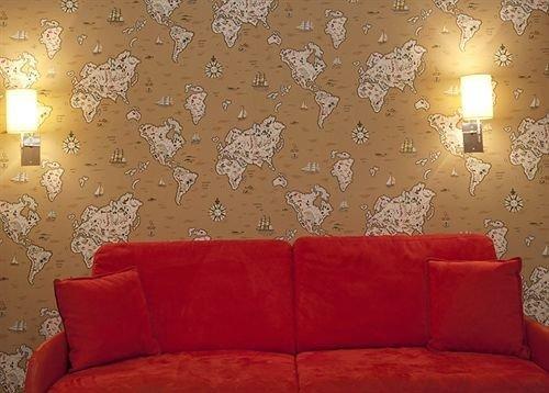 sofa seat red living room orange lighting wallpaper modern art bright colored