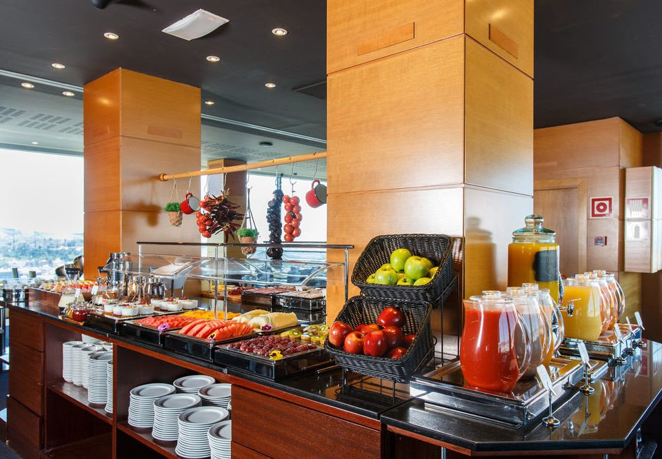 buffet counter food restaurant brunch cluttered