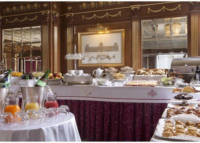 food counter brunch buffet function hall restaurant preparing dining table