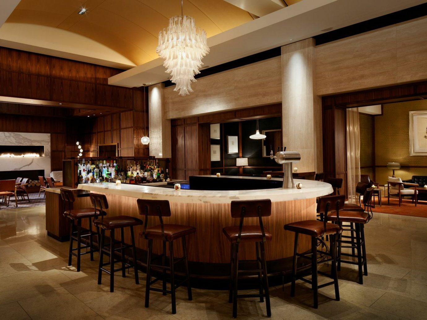 Bar Boston Dining Drink Eat Lounge Luxury Modern Trip Ideas Weekend Getaways floor indoor ceiling room Lobby billiard room recreation room restaurant estate function hall interior design meal home Design conference hall dining room café ballroom convention center furniture