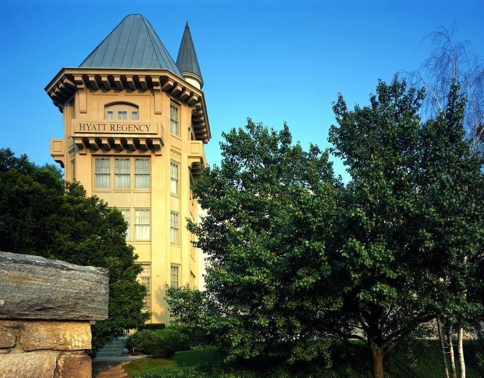 tree building stone tower château monastery
