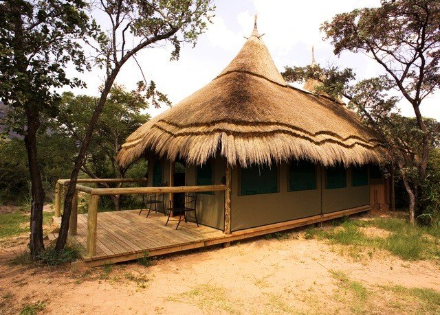 tree grass ground building thatching hut tent gazebo cottage dirt roof shade