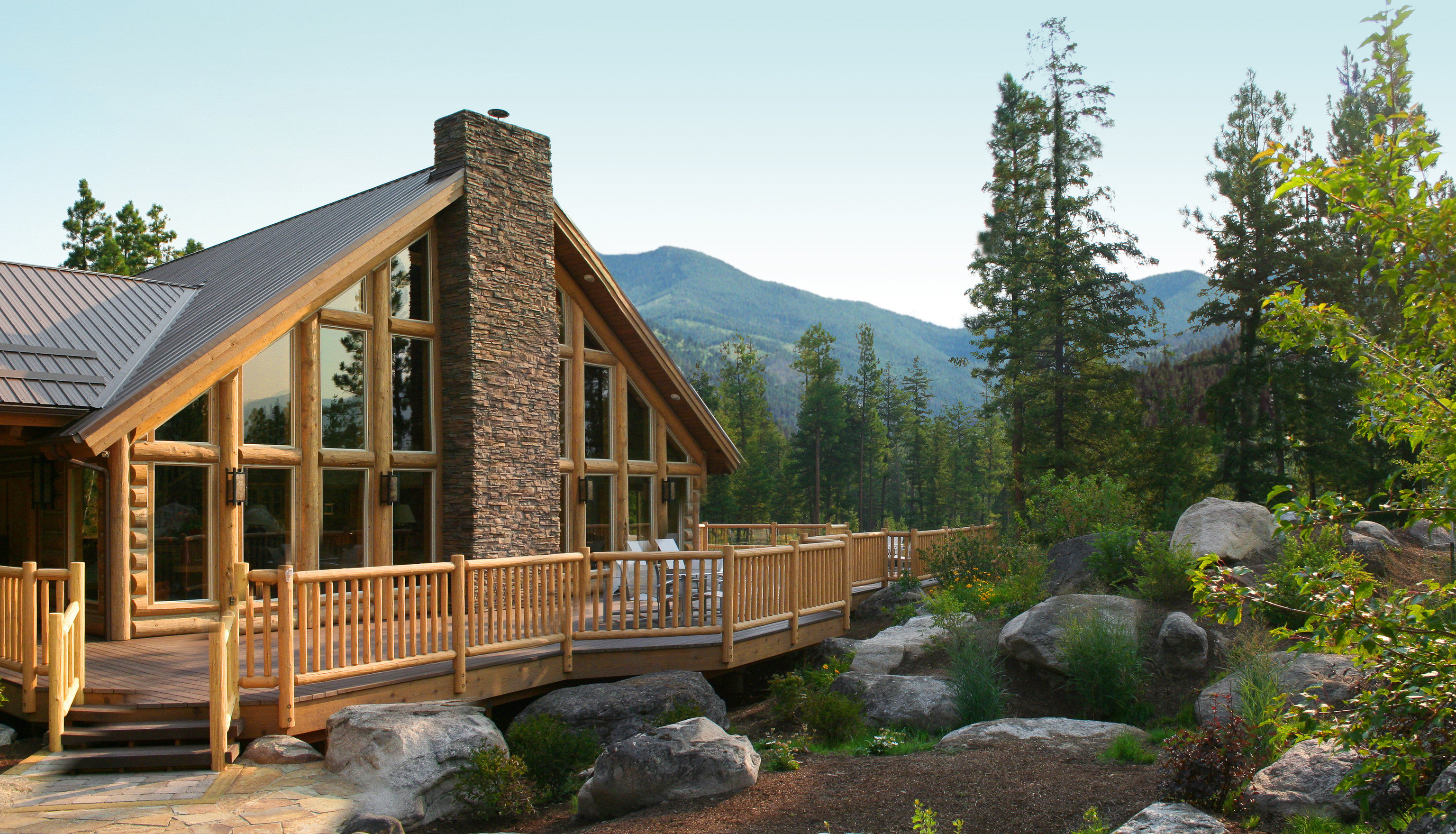 sky tree building house home cottage log cabin outdoor structure stone