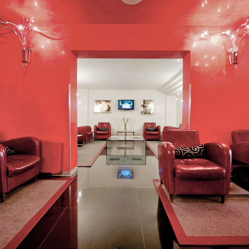 red building living room