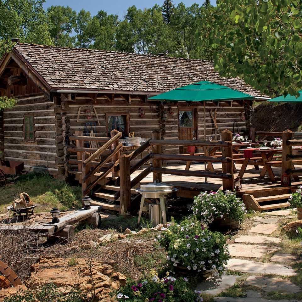 Buildings Cabin Dining Drink Eat Exterior Resort tree grass building house hut wooden log cabin green rural area Village cottage Jungle outdoor structure Garden surrounded
