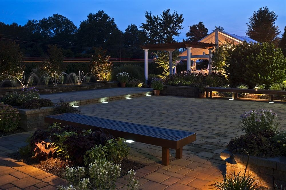 Buildings Exterior Garden Grounds Nature Outdoors tree sky swimming pool property house backyard Villa home Resort outdoor structure landscape lighting yard Courtyard mansion landscaping bushes surrounded