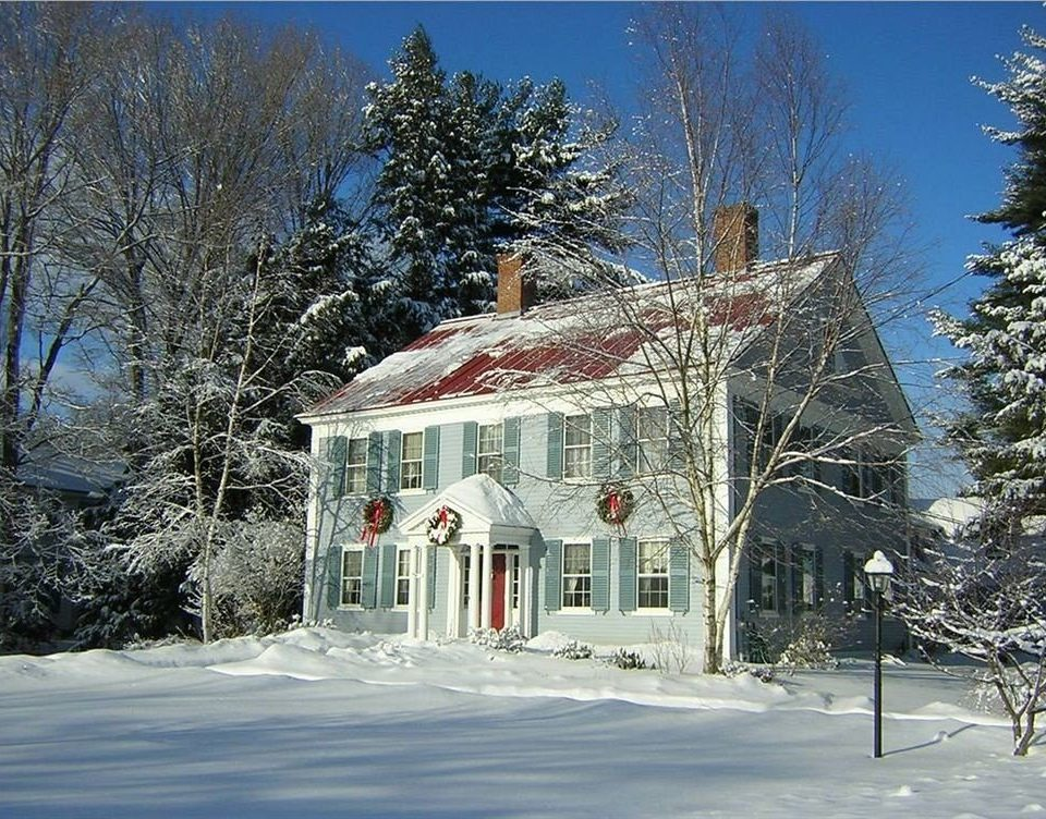 Buildings Exterior Family Historic Inn tree building snow Winter house weather season home log cabin cottage sugar house Town residential