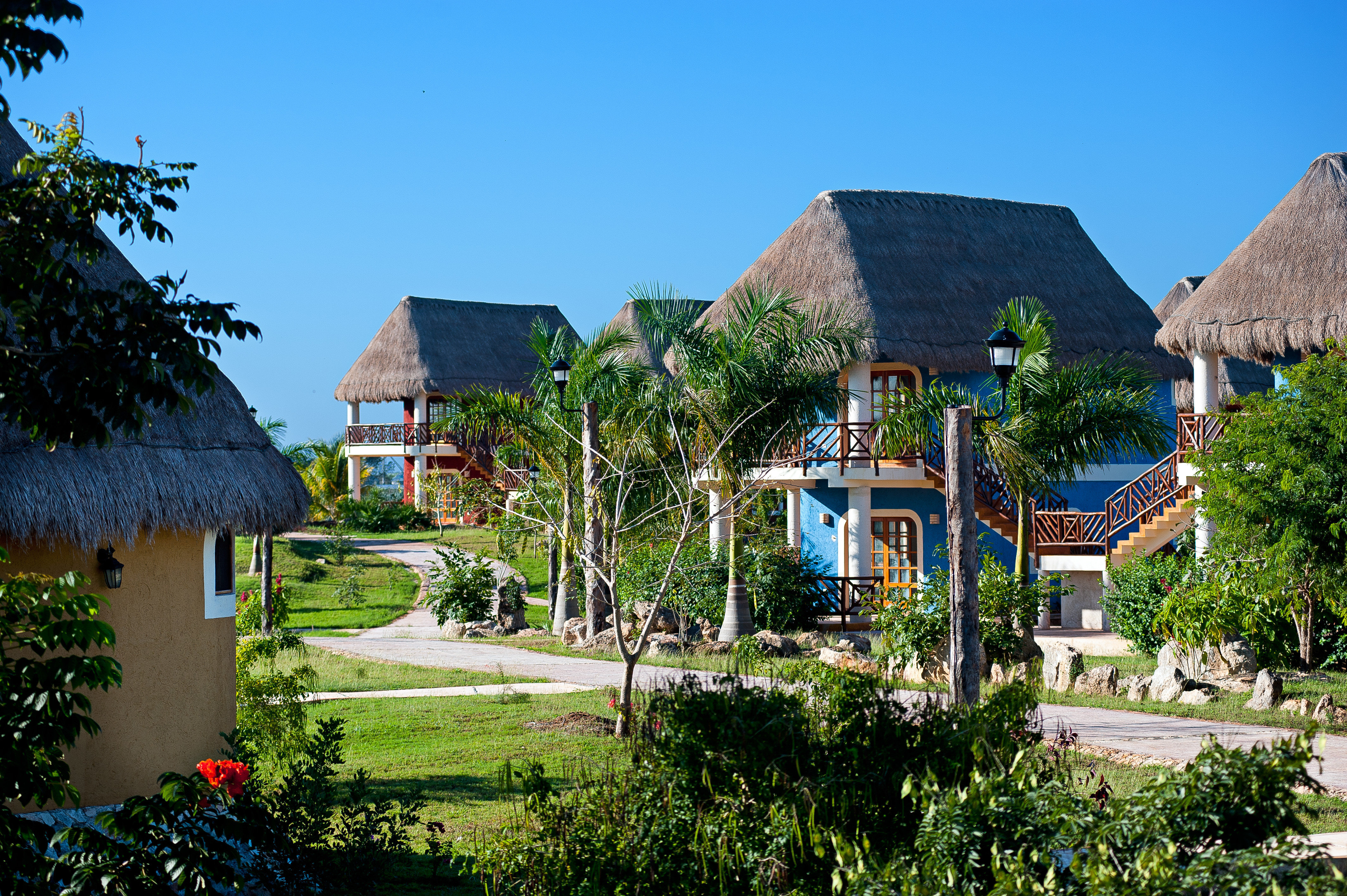 Buildings Exterior Tropical tree house grass property Resort home neighbourhood residential area Village cottage Garden mansion Villa residential Town bushes surrounded