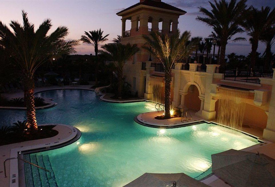 Buildings Exterior Outdoors Pool Romance swimming pool property Resort mansion Villa lighting hacienda landscape lighting home backyard