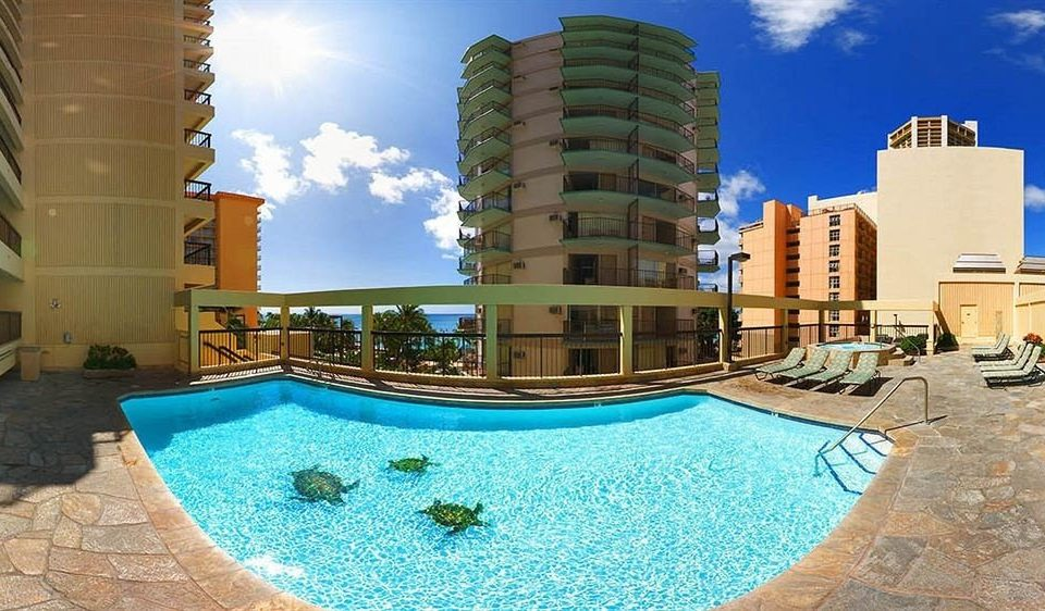 Buildings Play Pool Resort Rooftop Scenic views sky swimming pool condominium property building mansion Villa backyard blue swimming