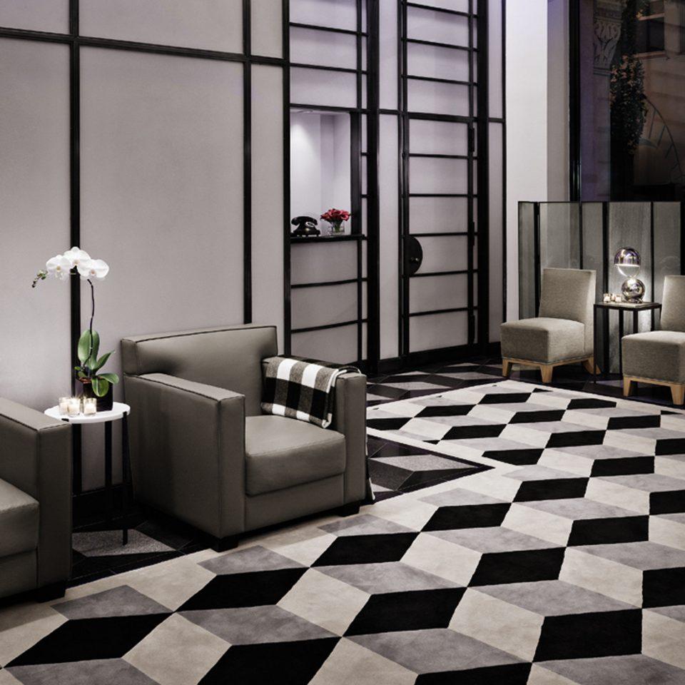 Business City Lobby Modern black flooring white tile living room tiled