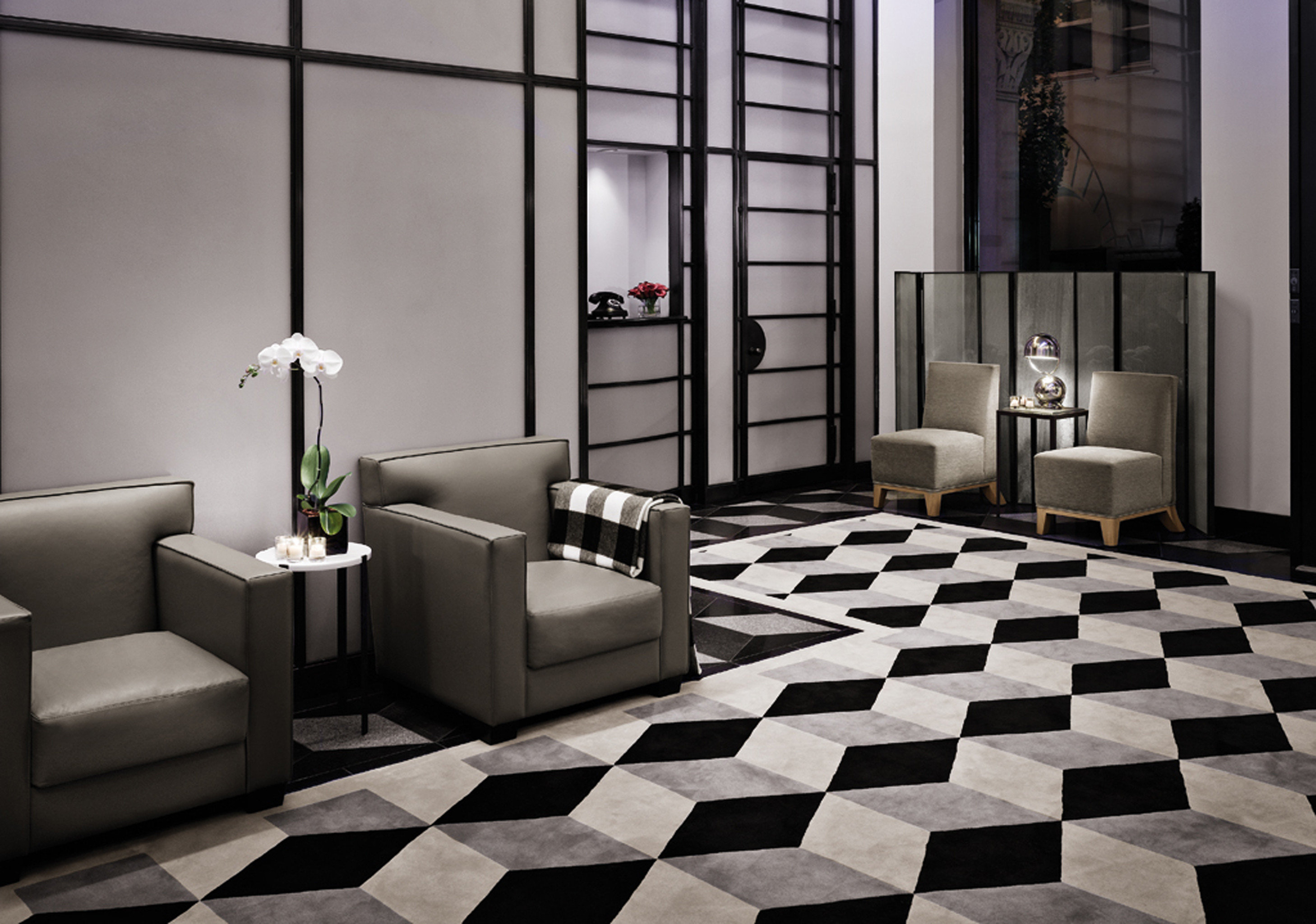 Business City Lobby Modern black flooring white tile living room tiled