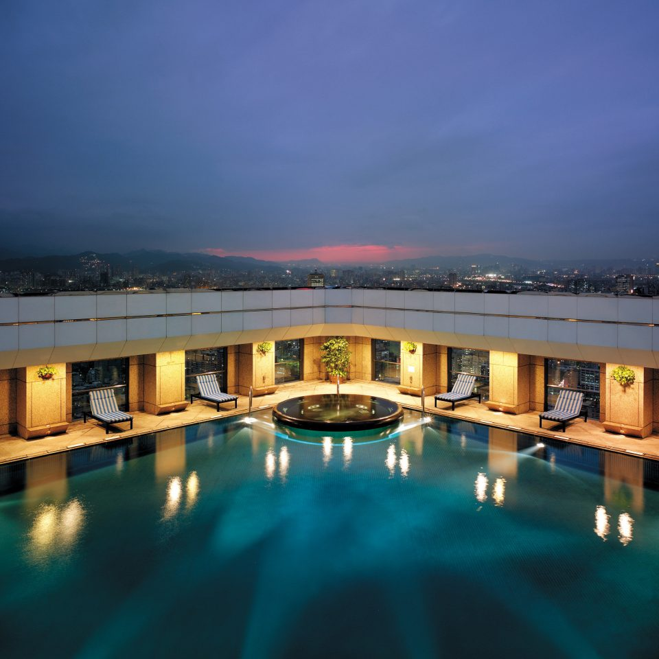 Business City Luxury Modern Pool Rooftop swimming pool scene night Resort evening dusk