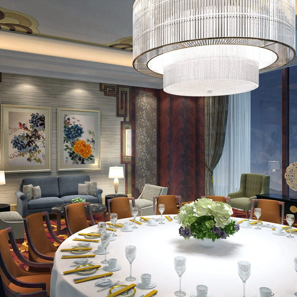 Business Dining Drink Eat Scenic views Lobby restaurant home function hall mansion living room Resort ballroom palace dining table