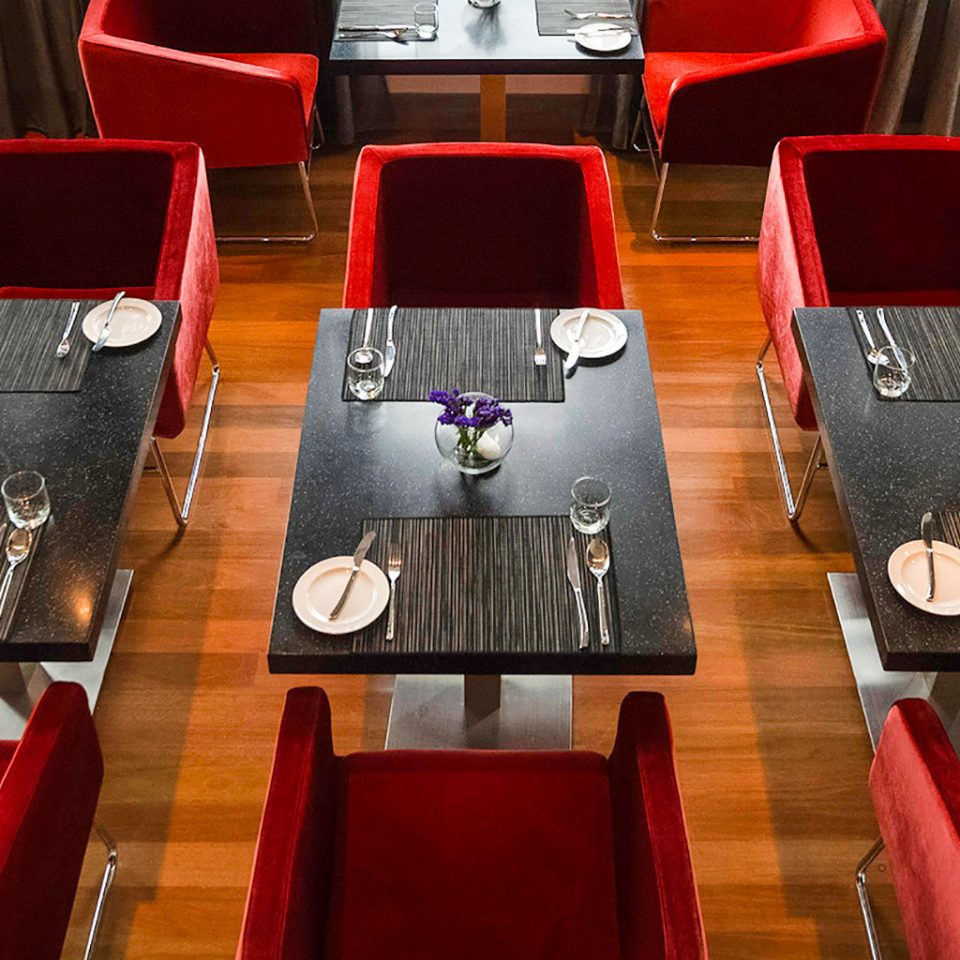 Business Dining Modern chair color red wooden restaurant leather set