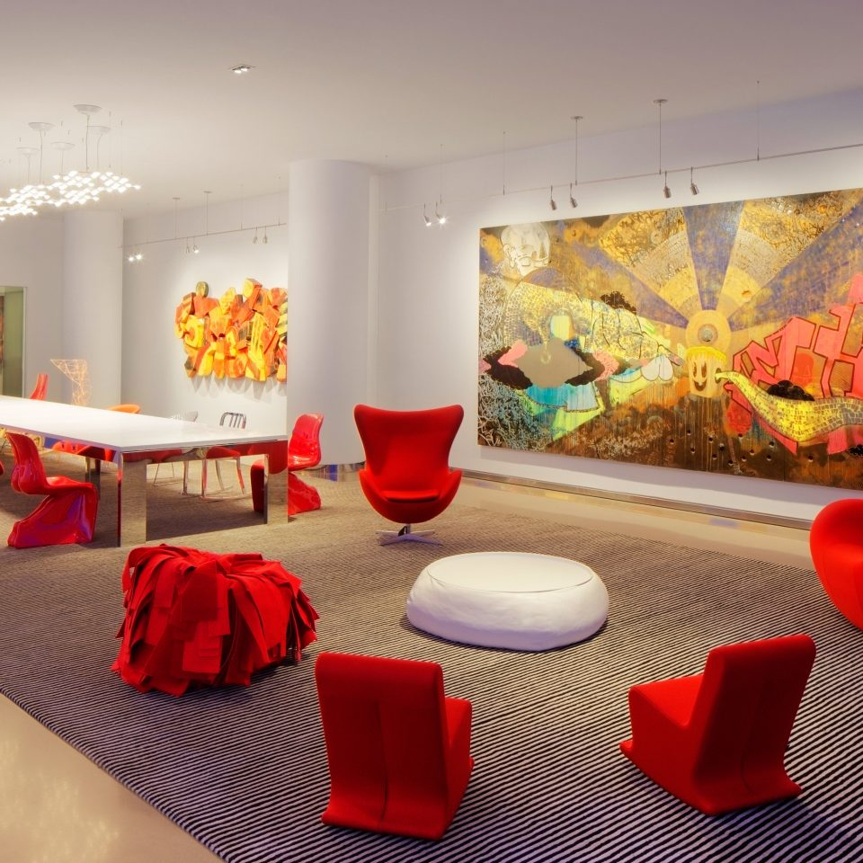 Business Hip Lounge Modern red color modern art living room waiting room