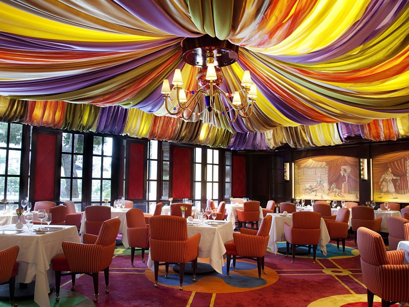 Food + Drink indoor floor chair room function hall ceiling restaurant interior design meal Resort ballroom area furniture