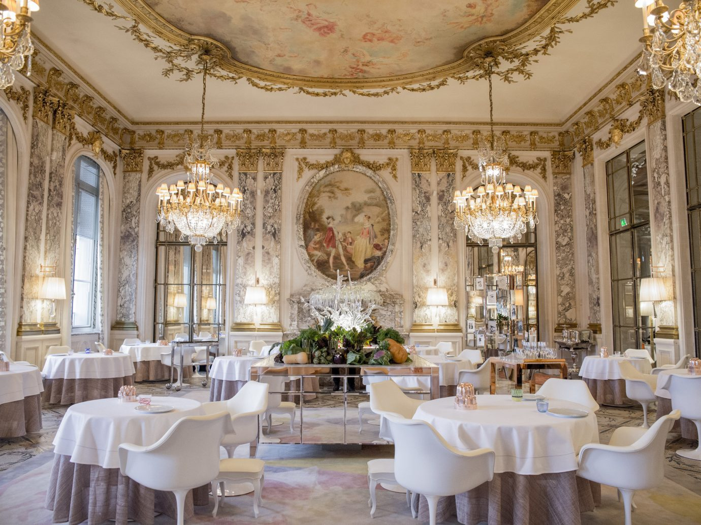 Food + Drink indoor window table floor chair room function hall palace ceiling ballroom meal estate interior design furniture mansion Dining wedding reception fancy decorated area several