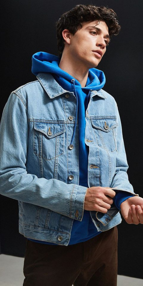 person denim standing jacket jeans fashion outerwear textile fashion model sleeve blue hood material t shirt model