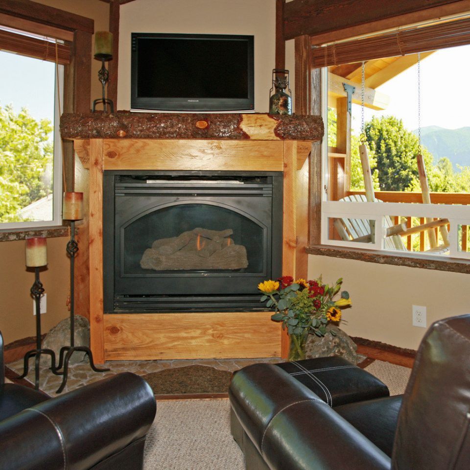 Cabin Fireplace Scenic views sofa property home living room cottage Villa leather mansion Suite recreation room