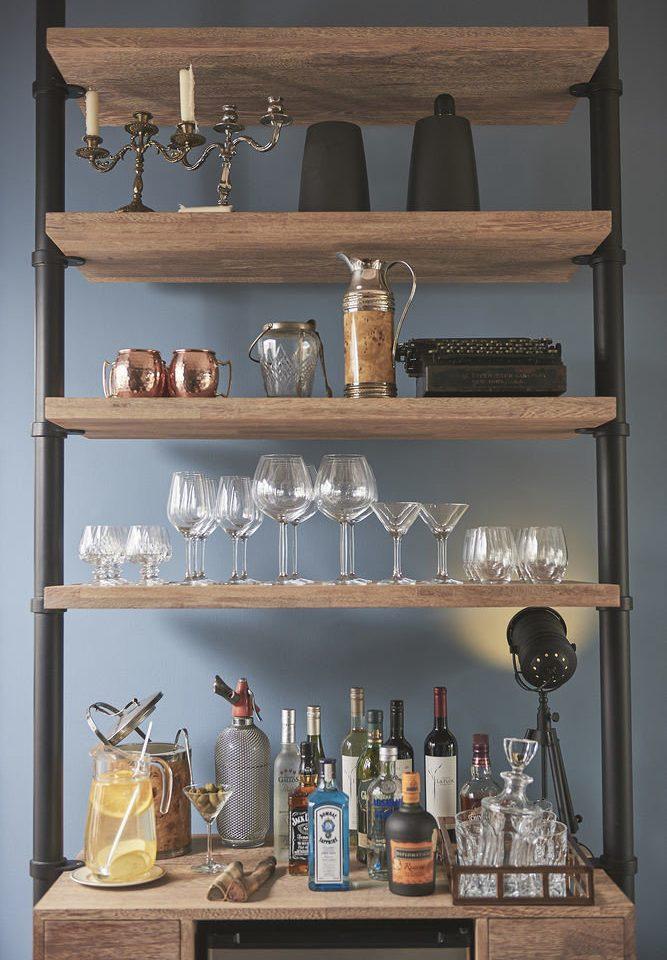 shelf shelving cabinetry lighting counter living room different