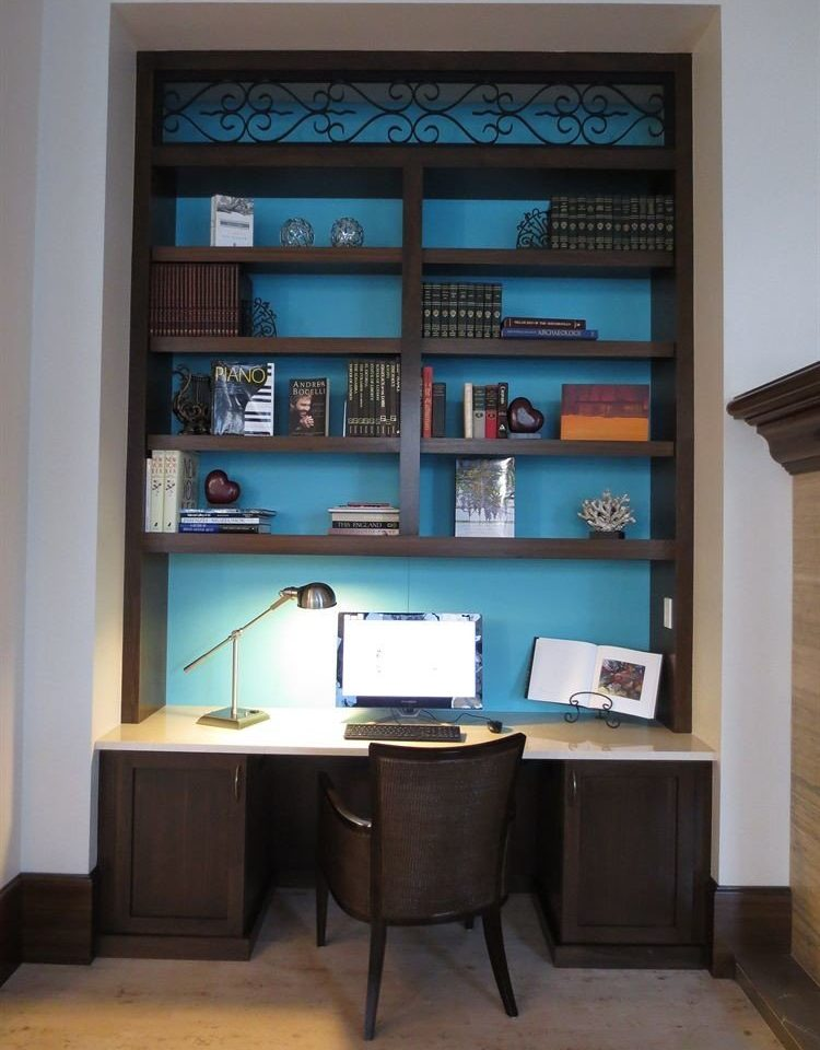 property living room home desk office cabinetry shelf shelving
