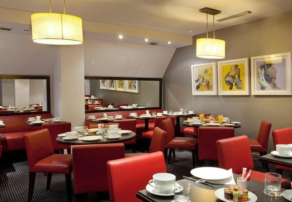 red chair restaurant café cafeteria cuisine set