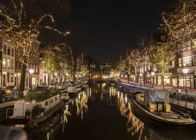 Canal night waterway City cityscape evening way