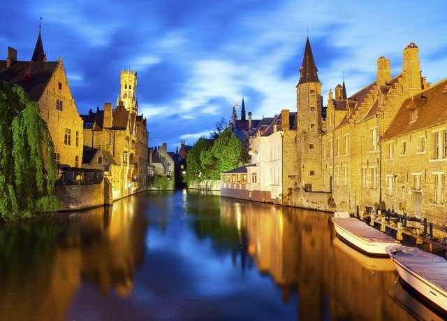 sky building water castle Canal Town historic site waterway River water castle cityscape evening moat château panorama old