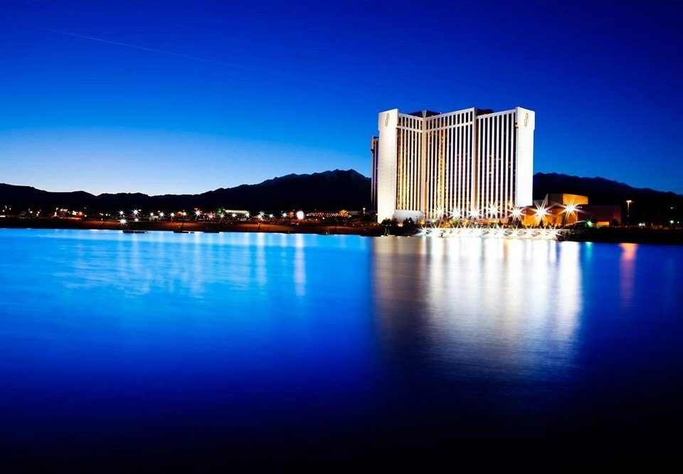 Casino Exterior Resort water sky horizon scene night River landmark dusk skyline cityscape evening skyscraper sunlight dawn distance