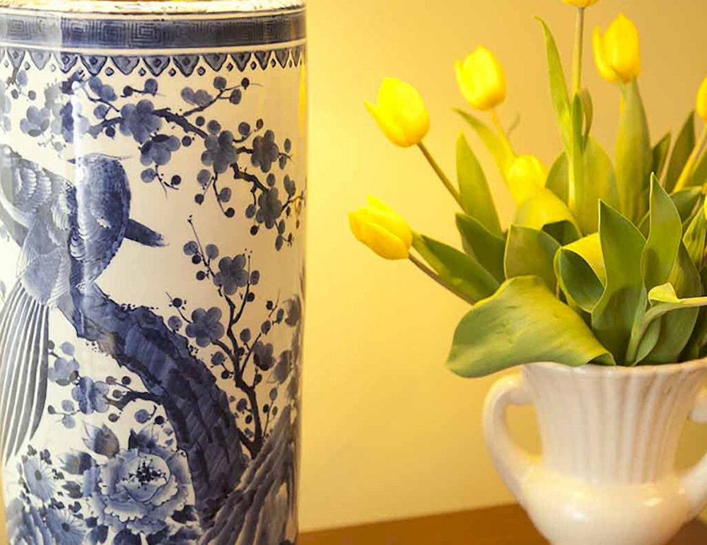 cup yellow flower plant vase lighting painting flowerpot ceramic ware pitcher porcelain