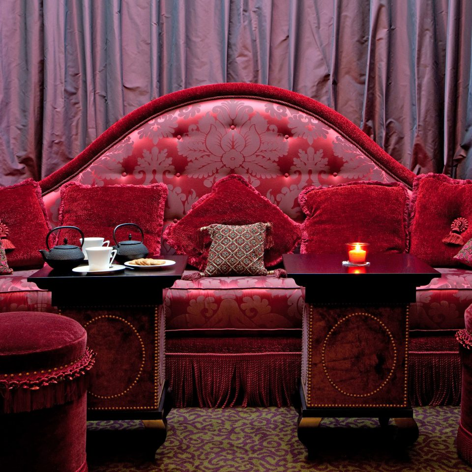 curtain red color chair stage living room restaurant theatre