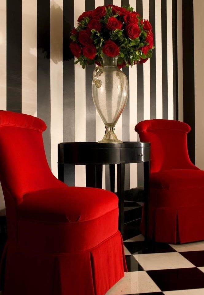 red restaurant living room chair flower flooring colored